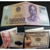 Chiết Khấu Sản Phẩm Bộ 3 Bop Vi Da Nam In Hinh Tiền Tệ 500K 200K 100 Cổ Điển