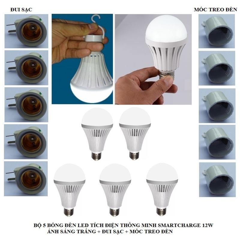 Bộ 5 bóng đèn tích điện thông minh SMARTCHARGE 12W (Ánh sáng trắng) + Đui sạc + Móc treo đèn