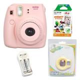 Giá Bán Bộ May Chụp Ảnh Lấy Ngay Fujifilm Instax Mini 8 Hồng Hộp Phim Fujifilm Instax Mini Mickey 10 Tấm 1 Bộ Pin Sạc Aa Lens Tự Sướng Vietnam