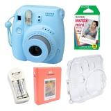 Mua Bộ May Chụp Ảnh Lấy Ngay Fujifilm Instax Mini 8 Xanh Dương Hộp Phim Fujifilm Instax Mini 10 Tấm 1 Bộ Pin Sạc Aa Case Trong Suốt Album Fujifilm