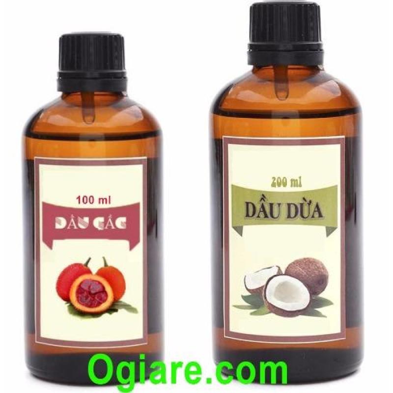 Bộ sản phẩm dầu dừa và dầu gấc dưỡng da Ogiare nguyên chất 100% (Xám đỏ)