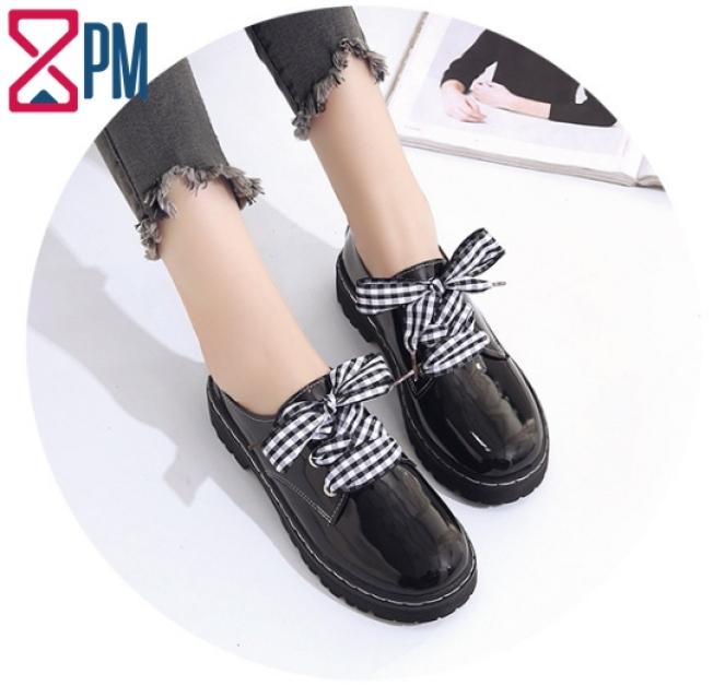 Giày Nữ Mọi Kiểu OXFORD Dây Vải Caro Hoặc Đen Gót Cao 3 Phân G2311 giá rẻ