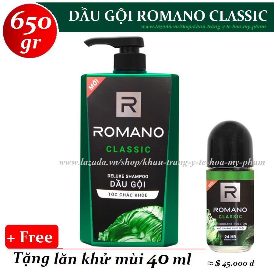 Romano - Dầu gội hương nước hoa Classic 650 gr + Tặng lăn khử mùi 40 ml chính hãng