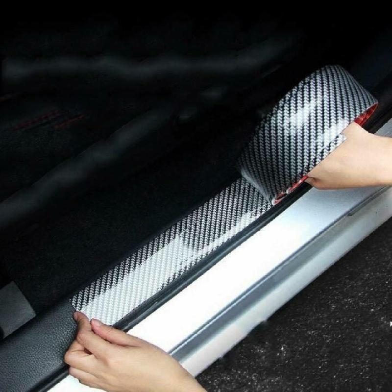 Miếng dán cacbon chống xước chân cửa xe ô tô xe hơi nẹp trang trí ô tô mạ cacbon cao cấp (Sợi cacbon rộng 10cm) SS35