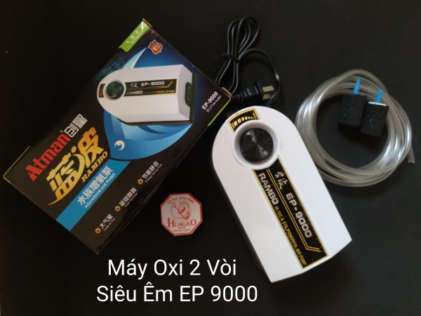 Máy Oxi 2 Vòi Atman EP 9000 Siêu Êm [Tặng dây + cục sủi]  - Phụ kiện cá cảnh | Hingaostore.