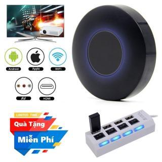 ( Quà tặng Hub chia 4 cổng Usb ) Thiết bị HDMI không dây Q1 Dongle hỗ trợ kết nối cổng AV - Wifi Display Dongle Q1 - HDMI Dongle Q1 hỗ trợ HDMI và AV trình chiếu từ Smartphone lên Tivi thumbnail