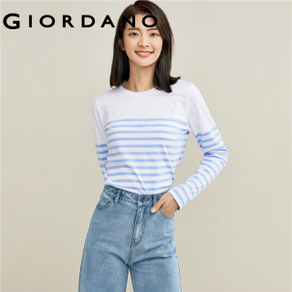 GIORDANO Women T-Shirts Double Vents Comfy Long Sleeves Cottom T-Shirts Stripe Design Ribbed Crewneck Casual T-Shirts 13321802 thumbnail