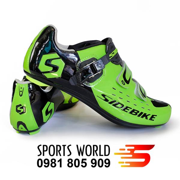 Giày can xe đạp thể thao dòng Road khóa kéo SIDEBIKE SD-001 (xanh lá) -- SPORTS WORLD SHOP