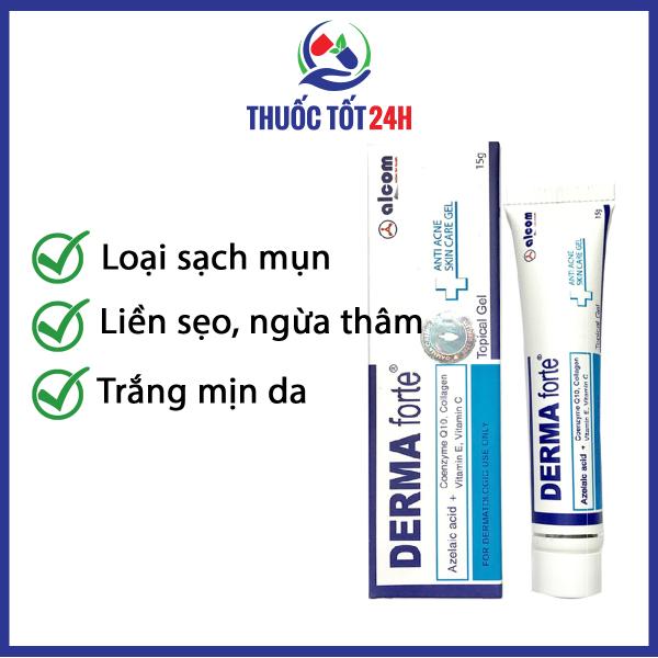 Derma Forte Gel 15g - Giảm Mụn Trứng Cá, Ngừa Thâm, Mờ Sẹo, Dưỡng Da trắng mịn Hiệu Quả giá rẻ