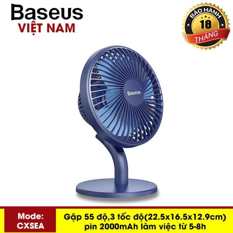 Quạt mini Quạt tích điện - quạt mini cầm tay để bàn Baseus Ocean Fan (Pin sạc 2000mAh, 4 mức tốc độ - Mini USB Rechargeable Air Cooling Fan Clip Desk Fan) - Phân phối bởi Baseus Vietnam