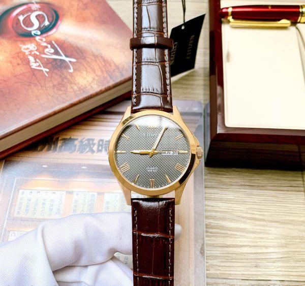 Đồng hồ Nam Citizen Quartz BF2023-01H Size 41mm,Mặt đen,Viền vàng hồng,Lịch thứ ngày-Máy Pin-Dây da nâu cao cấp