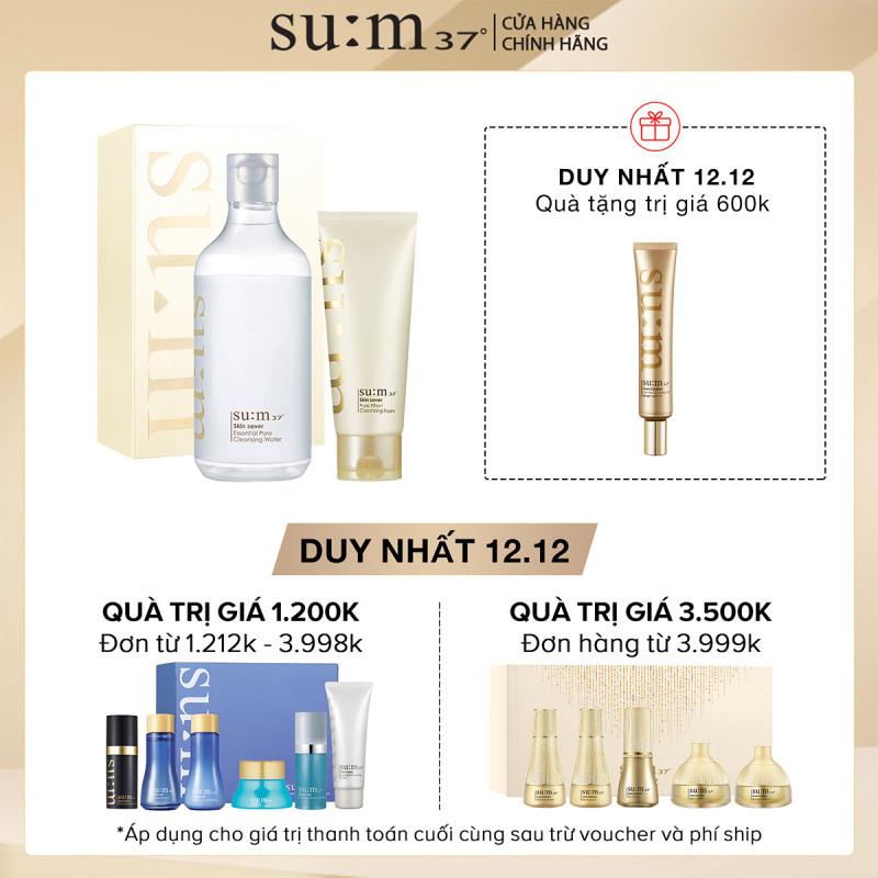 Bộ nước tẩy trang và sữa rửa mặt sạch sâu ẩm mịn da Su:m37 Skin Saver Pure Cleansing Duo Set 520ml nhập khẩu