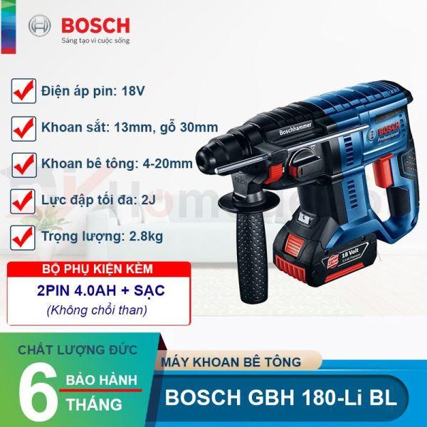 Máy khoan búa dùng pin Bosch GBH 180-LI BL (Brushless) Động cơ DC + Quà tặng nhiệt kế điện tử