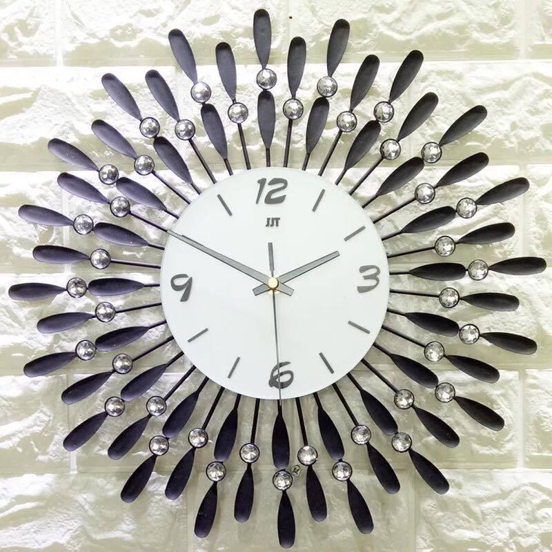 Đồng hồ treo tường , đồng hồ trang trí .Diachire mẫu giọt sương 38- màu đên - màu vàng bán chạy