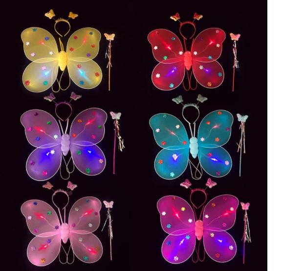 [HCM giao 1-2 ngày]Cánh bướm thiên thần CÓ ĐÈN kèm Gậy và vương miện cho bé gái - Đồ chơi trung thu Smart Baby