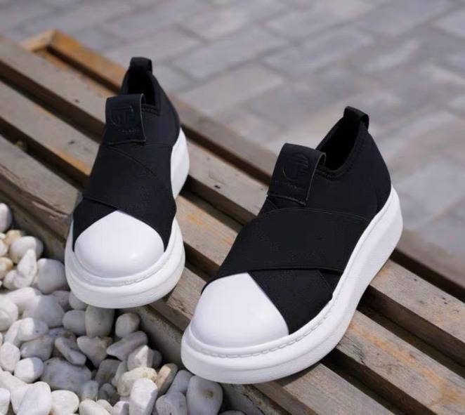 (Video Thật) giầy lười nữ, giầy sneaker, giầy thể thao vá trắng chất đẹp giá rẻ