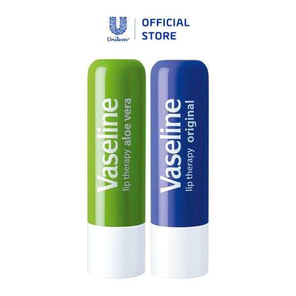 Bộ 2 son dưỡng môi Vaseline dạng thỏi 4.8g: Lô Hội và Mềm Mịn giá rẻ