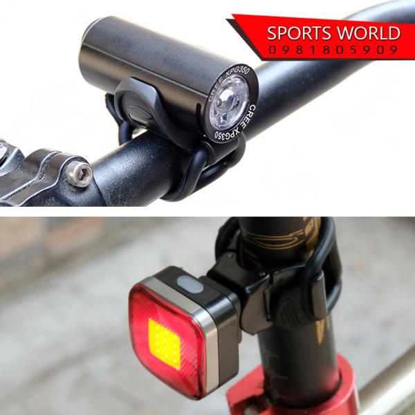 COMBO Đèn xe đạp trước sau 350lumen Chống nước sạc USB 2289+2287