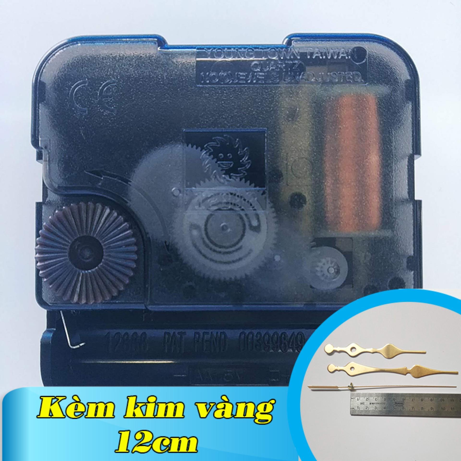 Kim giật - Bộ kim vàng 12cm và Máy đồng hồ treo tường Đài Loan loại tốt - Trục 5mm