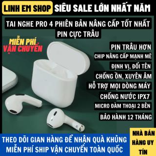 Tai Nghe Bluetooth Pro 4 Thiết Kế Nhỏ Gọn, Định Vị Đổi Tên, Âm Thanh Vòm 9D Pin Trâu Hỗ Trợ Mọi Dòng Máy, tai nghe không dây, tai phone không dây, tai nghe, tai nghe bluetooth mini thumbnail