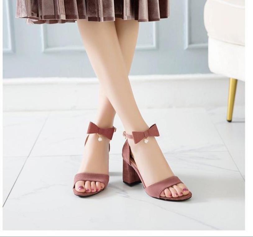 Giày cao gót vuông 7p hở mũi quai nơ 1 hạt châu điệu đà, duyên dáng, trẻ trung, thời trang giá rẻ