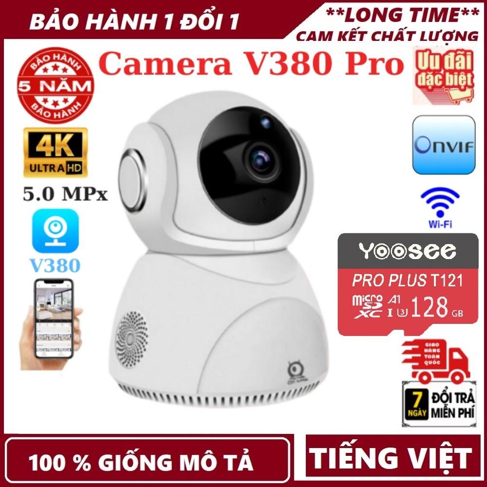 Bảo hành 5 năm-Tùy chọn thẻ nhớ 128 GB-Camera wifi V380 Pro Q8  5.0MPx  độ phân giải 4K  đàm thoại 2 chiều  xoay 360 độ  camera wifi camera ip  camera an ninh  camera giám sát  camera chống trộm
