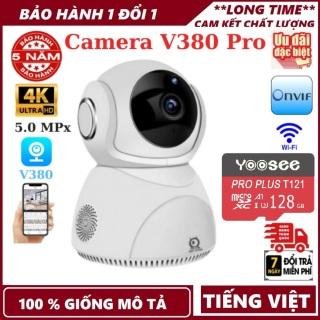 Bảo hành 5 năm-Tùy chọn thẻ nhớ 128 GB-Camera wifi V380 Pro Q8 , 5.0MPx , độ phân giải 4K , đàm thoại 2 chiều , xoay 360 độ , camera wifi ,camera ip , camera an ninh , camera giám sát , camera chống trộm thumbnail