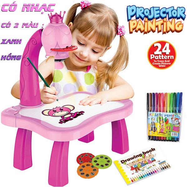 (CÓ NHẠC,TẶNG BỘ BÚT MÀU,SỔ TẬP VẼ CHO BÉ) Bàn vẽ thông minh cho bé,bàn vẽ máy chiếu với 24 hình ảnh ngộ nghĩnh nâng cao tư duy cho bé , bàn vẽ đèn cho bé giải trí và rèn luyện tính kiên nhẫn khi ở nhà