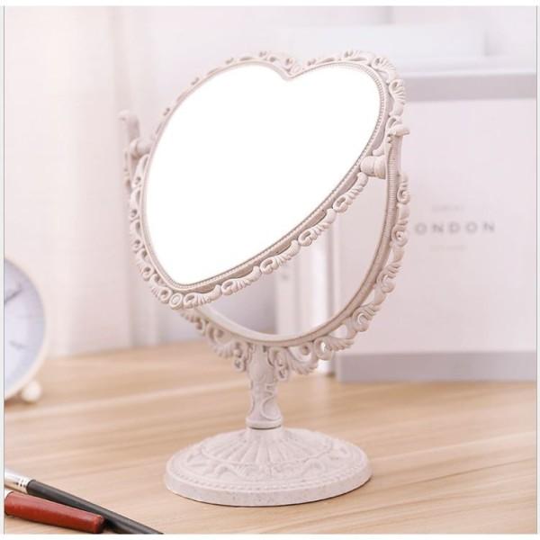 Gương để bàn phong cách châu âu các màu hình trái tim và hình bầu dục gương 2 mặt. giá rẻ