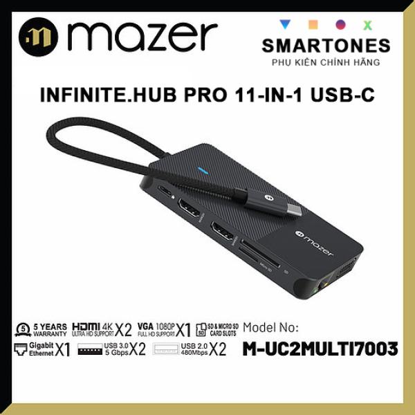 Bảng giá Cổng Chuyển Đổi Mazer Infinite.HUB Pro 11-in-1 USB-C to HDMI x2 RJ45 x1, VGA x1, SD Micro SD USB 3.0 x2 USB2.0 x1 bảo hành 5 năm Phong Vũ