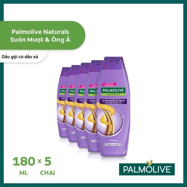 Bộ 5 chai dầu gội kèm dầu xả Palmolive Suôn Mượt Óng Ả từ tinh dầu dừa & đậu nành 180ml/chai giá rẻ