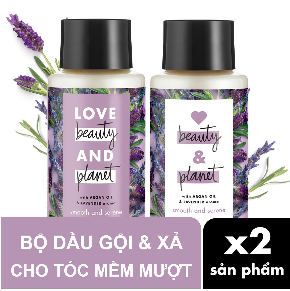 Combo cho tóc mềm mượt dầu gội & dầu xả Love Beauty & Planet 400ml