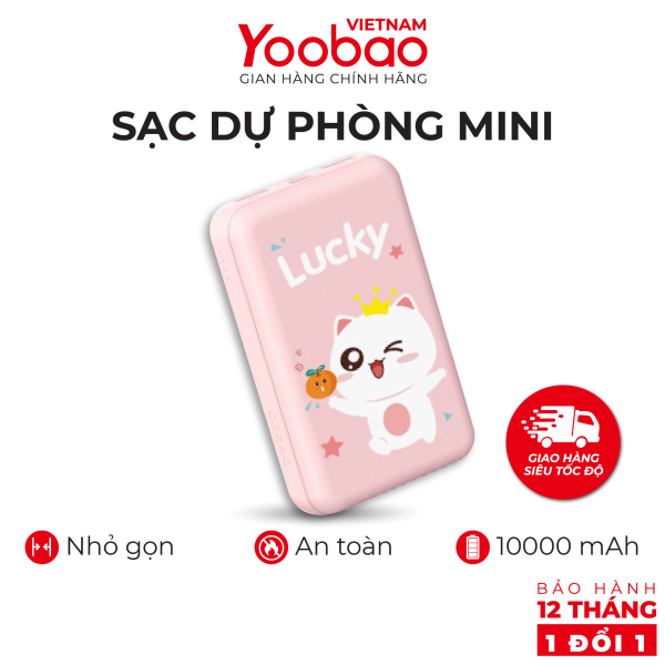 Sạc dự phòng 10000mA dễ thương Yoobao P10W -  Sạc đồng thời 2 thiết bị - Đầu vào Lightning Micro USB - Hàng phân phối chính hãng - Bảo hành 12 tháng 1 đổi 1