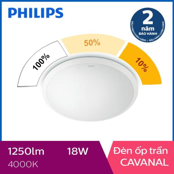 Đèn ốp trần Philips LED 3 cấp độ sáng Cavanal 31809 18W 4000K- Ánh sáng trung tính Tuổi thọ lên đến 15000 giờ