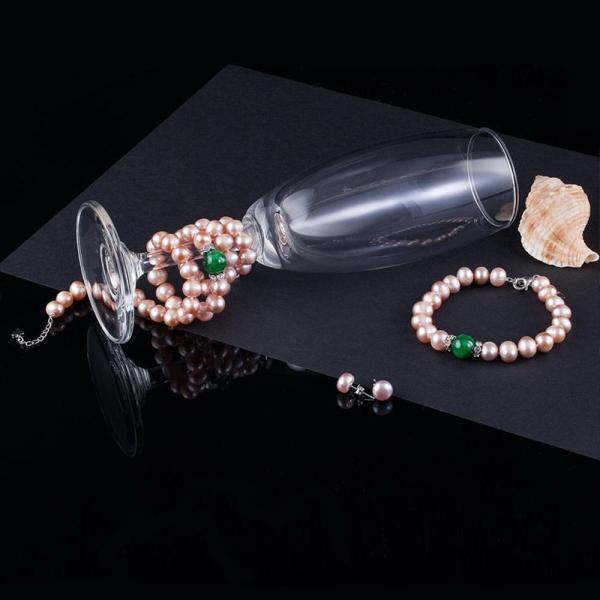 Bộ Ngọc trai vàng hồng cẩm thạch (tặng một bộ dây chuyền bạc đá trắng)