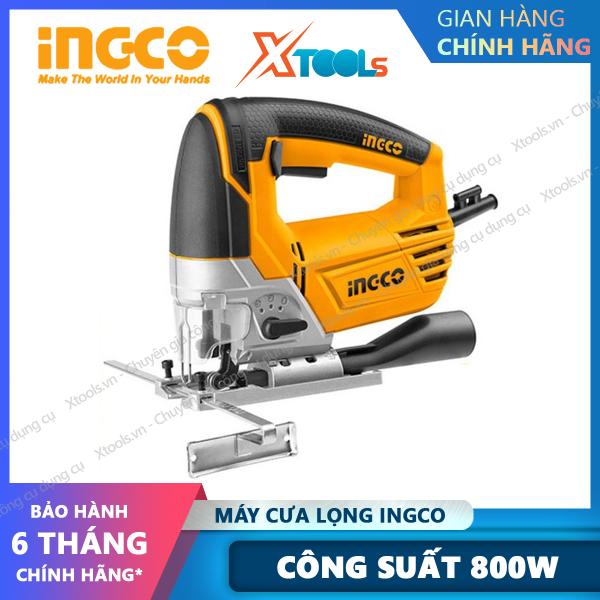Máy cưa lọng cầm tay INGCO JS80028 800W dùng điện 220v, máy cưa sọc tặng kèm 5 lưỡi cưa và 1 bộ carbon, cắt gỗ 100mm - Sản phẩm chính hãng [XSAFE][XTOOLs]