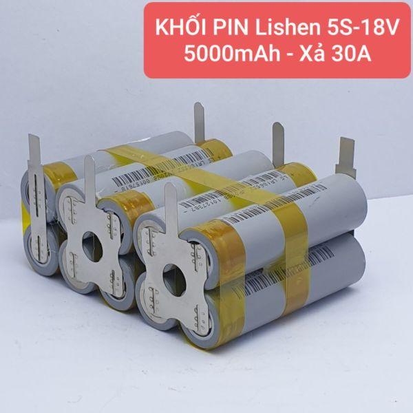 KHỐI PIN Lishen -  5S-18V/21v - 5.000mah Xả 30A