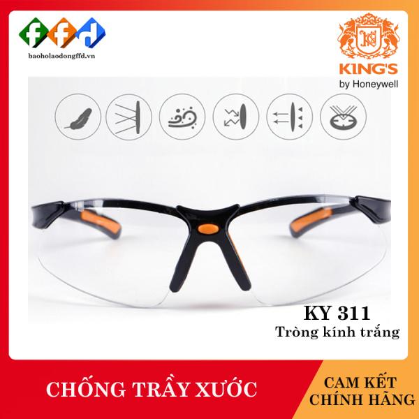 Kính bảo hộ Kings KY311 mắt kính trắng, Kính chống tia UV, chống bụi, chống xước, dùng trong lao động, đi xe máy [FFD]