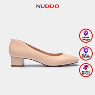 Giày cao gót nữ thời trang công sở Nuddo 3cm gót vuông màu kem da mờ phong cách Hàn Quốc thumbnail