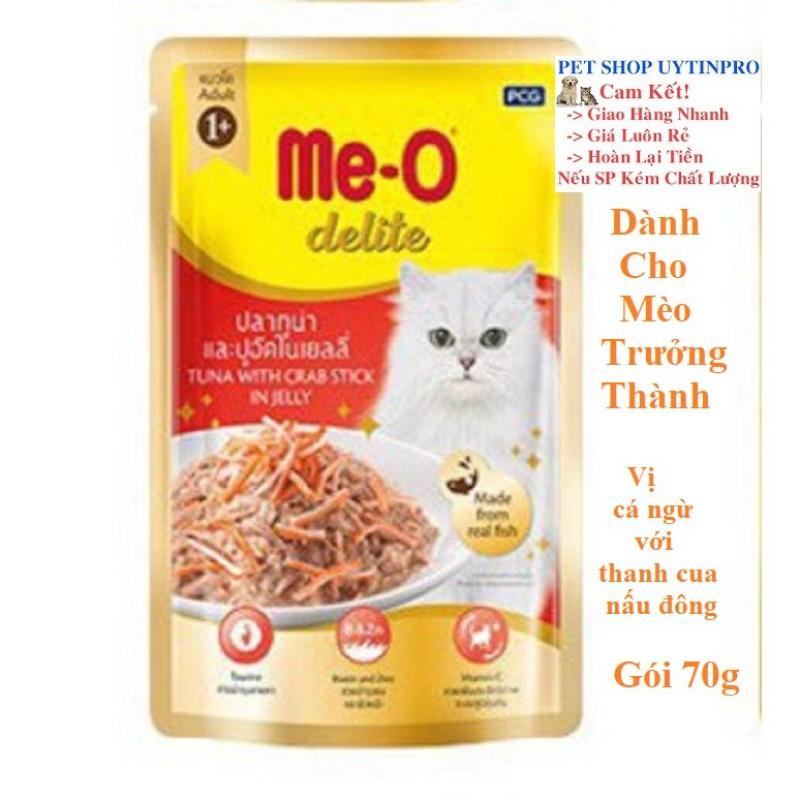THỨC ĂN CHO MÈO Me-O delite Dạng Pate Vị cá ngừ với thanh cua nấu đông Gói 70g Xuất xứ Thái Lan