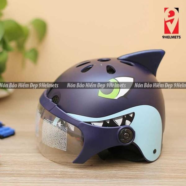 Giá bán [HCM]Mũ Bảo Hiểm Trẻ Em Có Kính Hình Cá Mập Xanh Mực