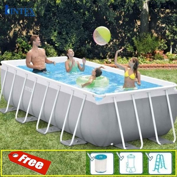 [Trả góp 0%] Bể bơi khung kim loại chịu lực 4m INTEX 26788