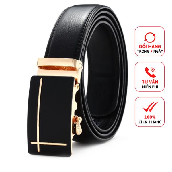 Thắt lưng nam dấu cộng vàng khóa tự động D&D Fashion dây da màu đen dài 120cm
