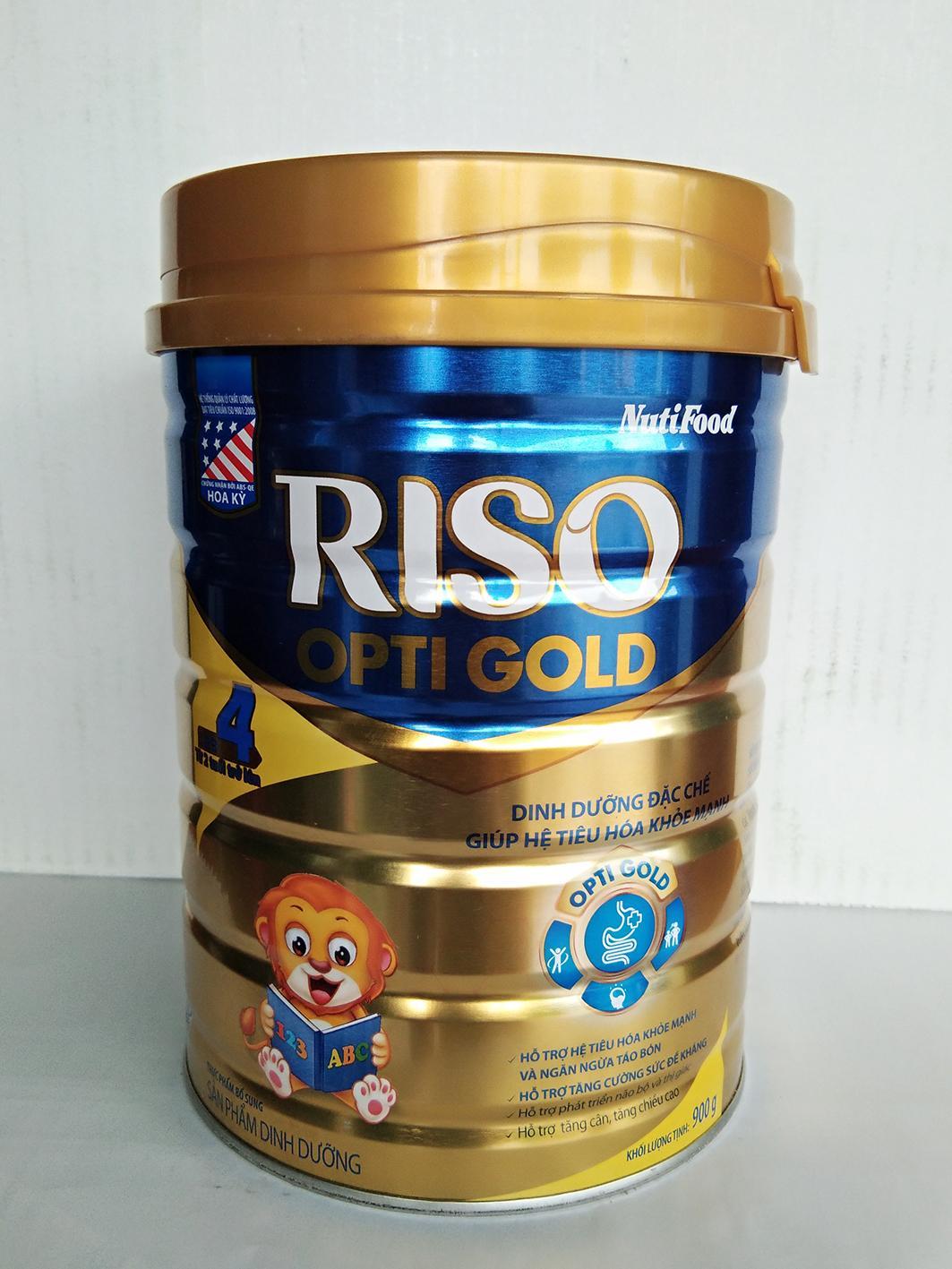 Sữa bột Riso Opti Gold số 4 900g Dinh Dưỡng Đặc Chế Giúp Tiêu Hóa Khỏe Mạnh