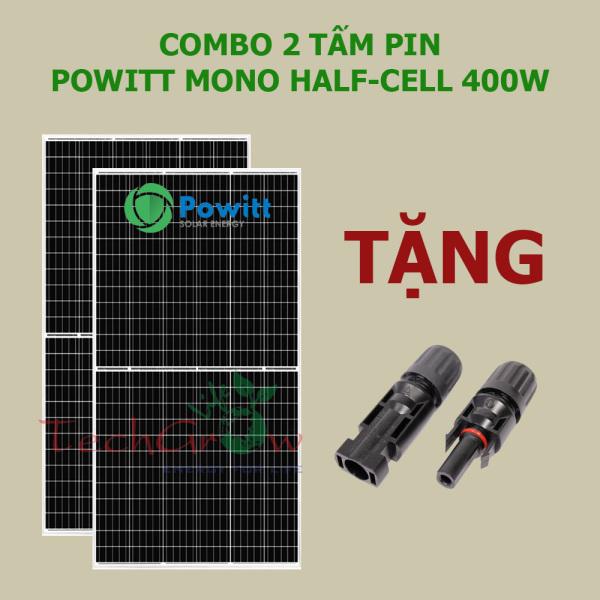 COMBO 2 tấm pin Powitt Mono HALF-CELL 400W tặng jack nối MC4