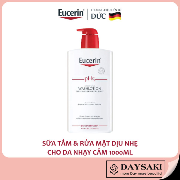 [HCM]Eucerin Sữa Tắm & Rửa Mặt Dành Cho Da Nhạy Cảm pH5 Washlotion 1000ml