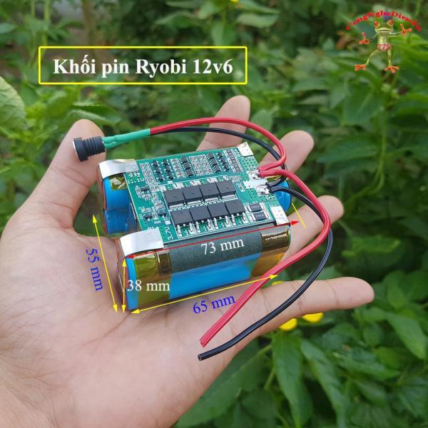 Khối pin Ryobi 6 cell XANH 12v 5100mAh  có hàn DÂY VÀ JACK SẠC