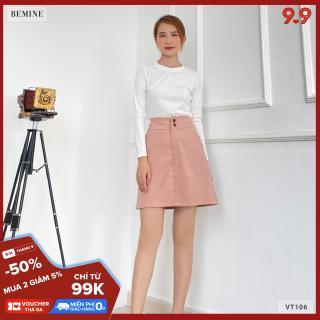 Chân váy nhung 2 nút BEMINE VT106HONG thumbnail