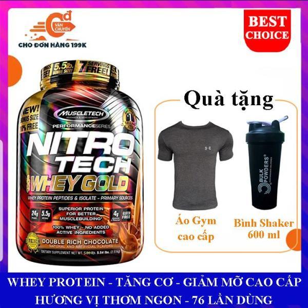 [TẶNG BÌNH VÀ ÁO GYM ĐỦ SIZE] Sữa tăng cơ giảm mỡ Nitro Tech 100% Whey Gold của Muscle tech hộp 2.5kg 76 lần dùng hỗ trợ tăng cơ giảm cân đốt mỡ cao cấp, tăng sức bền sức mạnh cho người tập gym và chơi thể thao nhập khẩu
