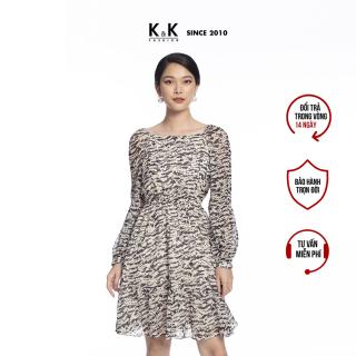 Đầm Công Sở Nữ Dáng Xòe K&K Fashion KK106-16 Voan Họa Tiết Tay Dài thumbnail